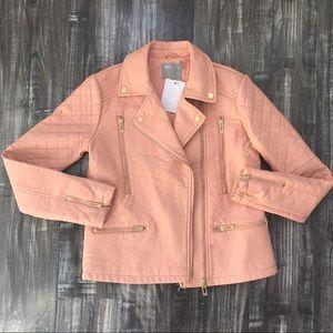 ASOS Pink Faux Leather Moto Biker Jacket Sz 8